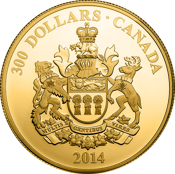 Image of 300 dollar coin Saskatchewan Coat of Arms | Canada 2014.  The Silver coin is of Proof quality.