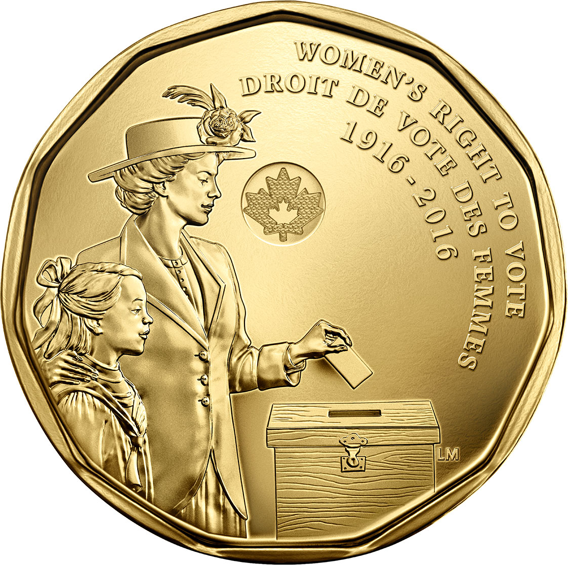 Image of 1 dollar coin - 100th Anniversary of Women's Right to Vote | Canada 2016