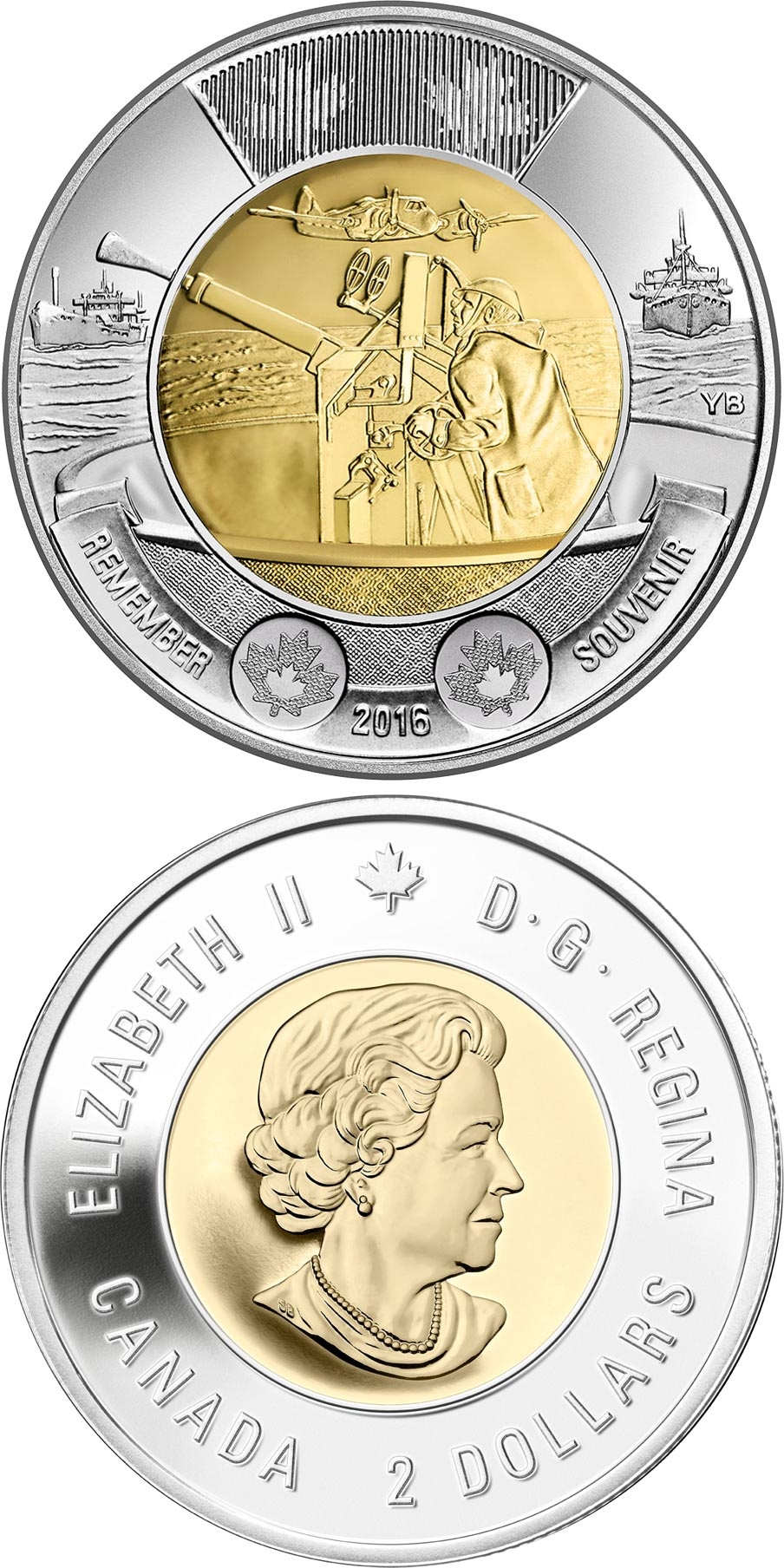Image of 2 dollars coin - 75th Anniversary of the Battle of the Atlantic | Canada 2016.  The Bimetal: CuNi, nordic gold coin is of UNC quality.
