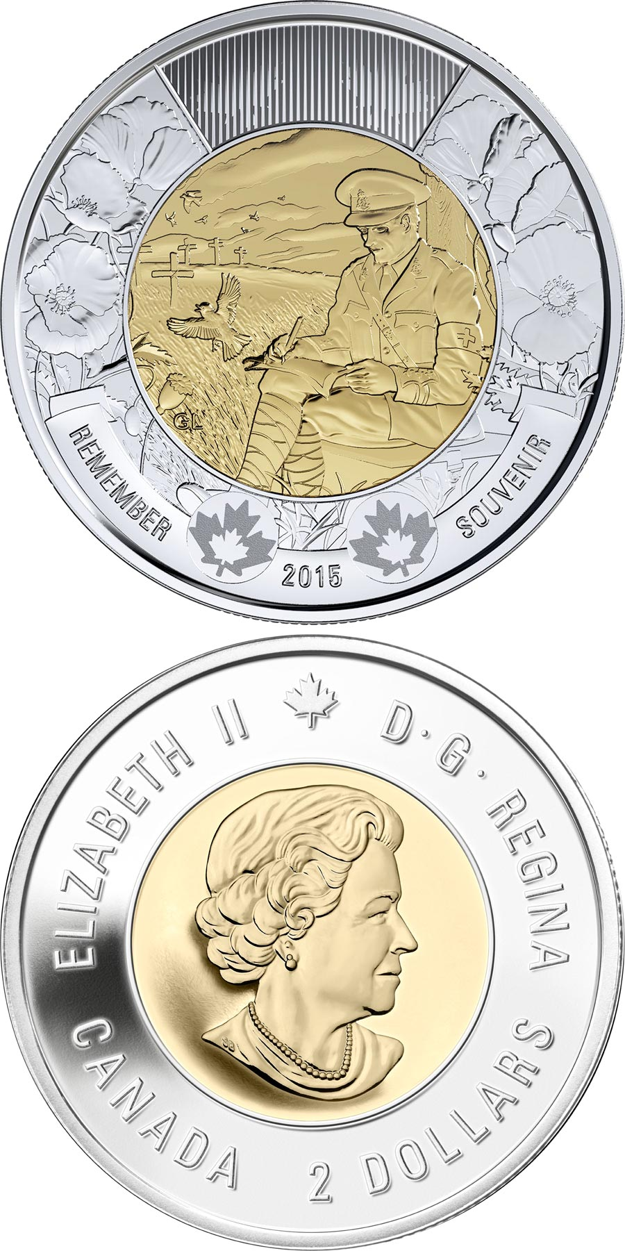 Image of 2 dollars coin - 100th anniversary of the In Flanders Fields poem | Canada 2015.  The Bimetal: CuNi, nordic gold coin is of UNC quality.
