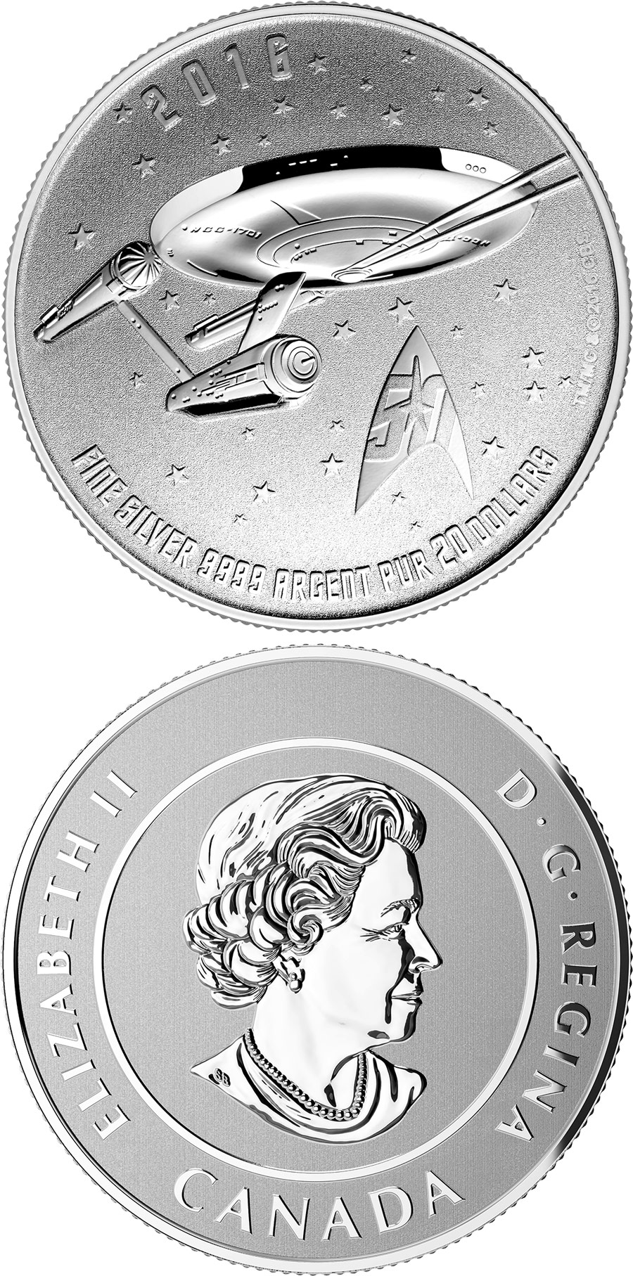 Image of 20 dollars coin - Star Trek Enterprise | Canada 2016.  The Silver coin is of BU quality.