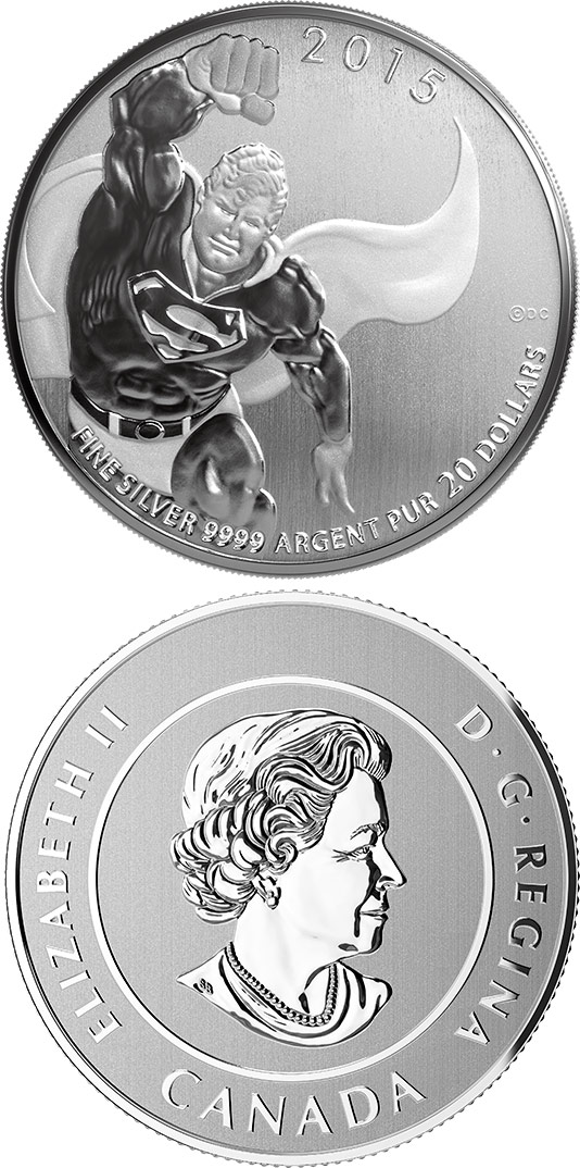 20 dollars Superman - 2015 - Series: 20 dollars pure silver coins - Canada