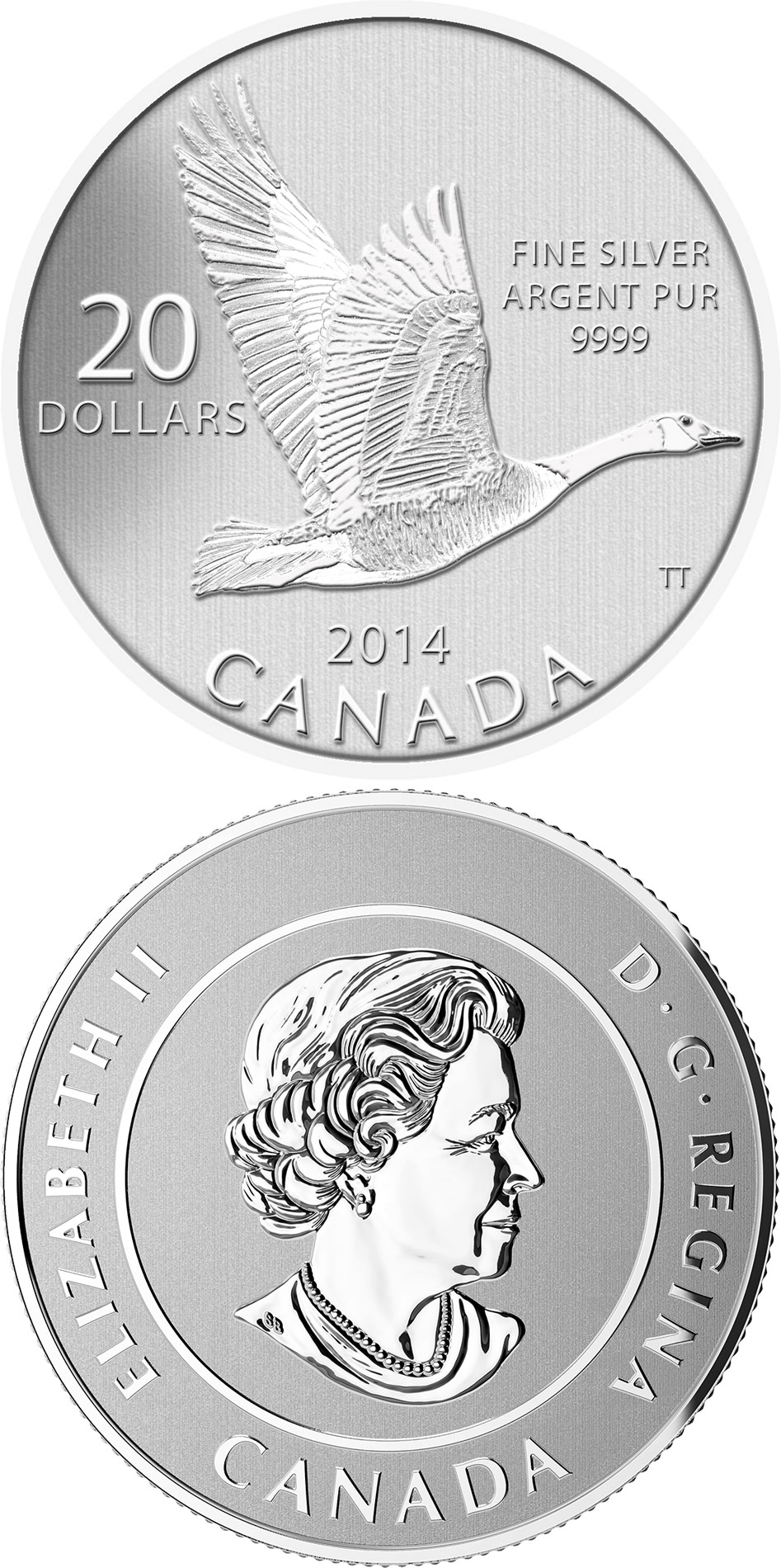 Image of 20 dollars coin - Canada Goose | Canada 2014.  The Silver coin is of BU quality.