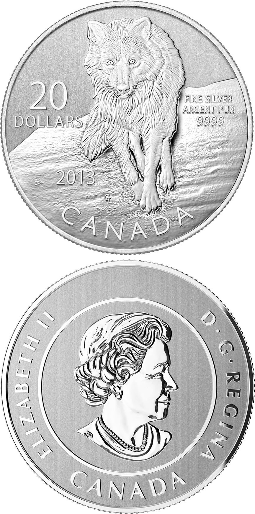 Image of a coin 20 dollars | Canada | Wolf | 2013