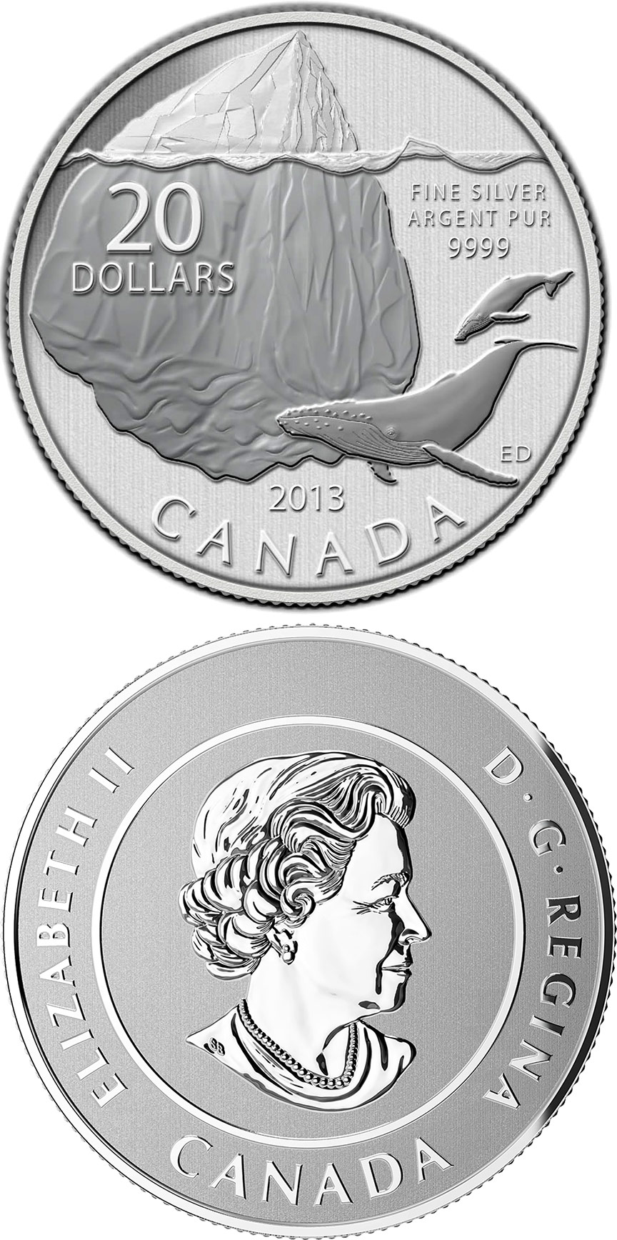 Image of a coin 20 dollars | Canada | Iceberg and Whale | 2013