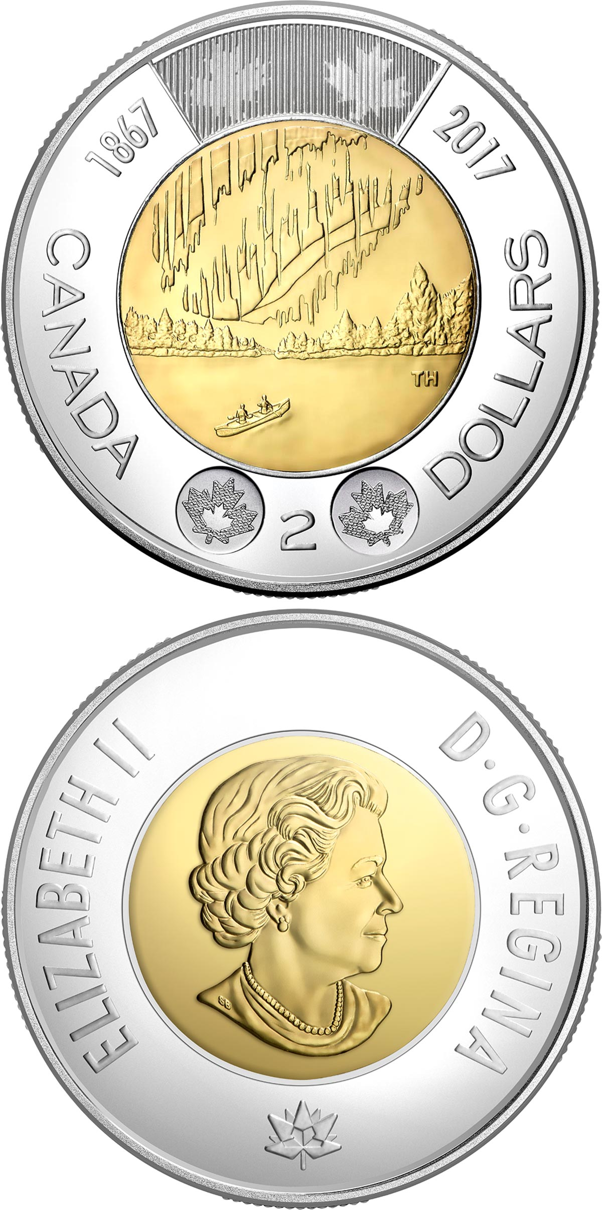 Image of 2 dollars coin - 150th anniversary of the Confederation of Canada | Canada 2017.  The Bimetal: CuNi, nordic gold coin is of UNC quality.