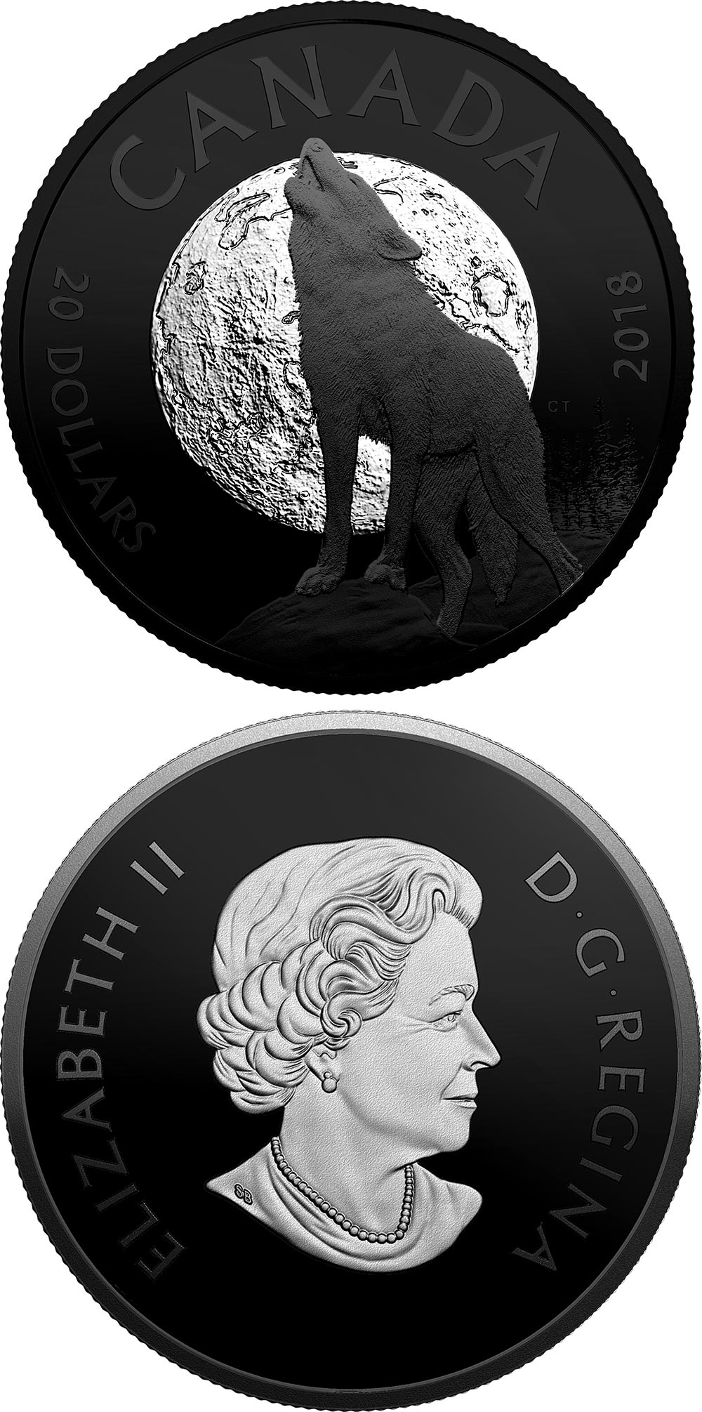 Image of 20 dollars coin - The Howling Wolf | Canada 2018.  The Silver coin is of proof-like quality.