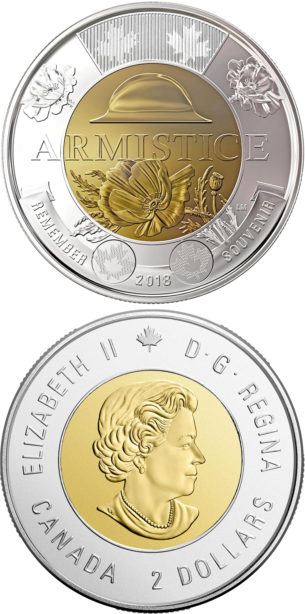Image of 2 dollars coin - 100th anniversary of the Armistice of 1918 | Canada 2018.  The Bimetal: CuNi, nordic gold coin is of UNC quality.