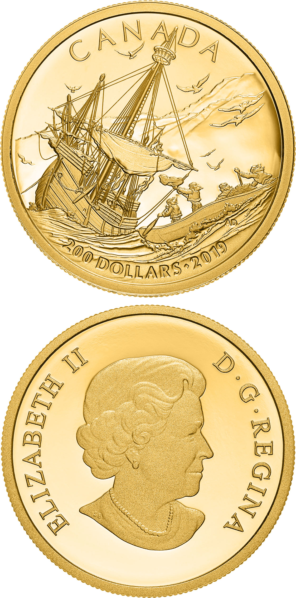 Image of 200 dollars coin - Arrival of the Europeans | Canada 2019.  The Gold coin is of Proof quality.