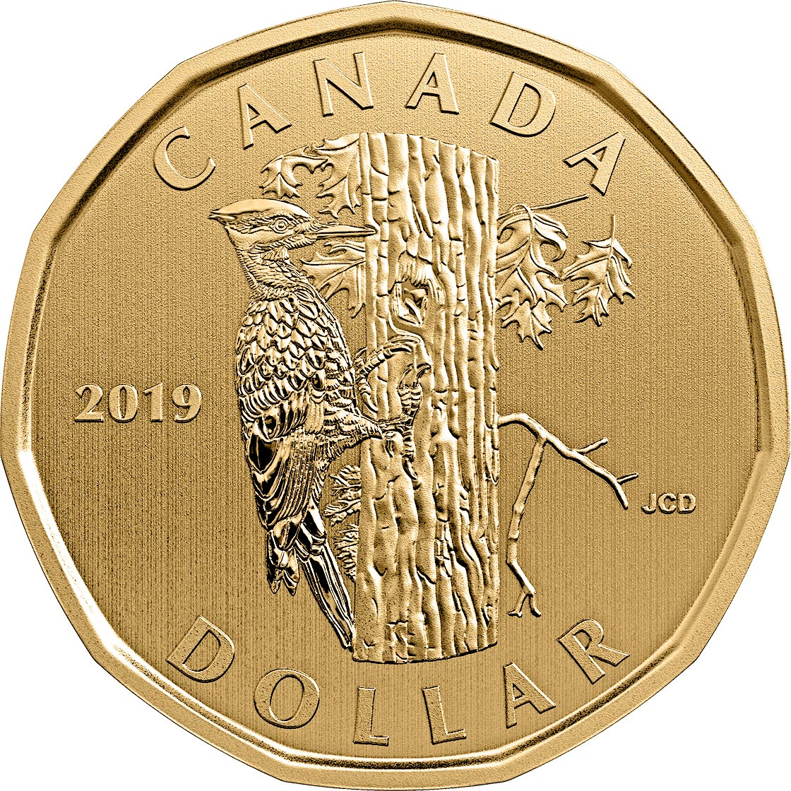 Image of 1 dollar coin - Pileated Woodpecker | Canada 2019