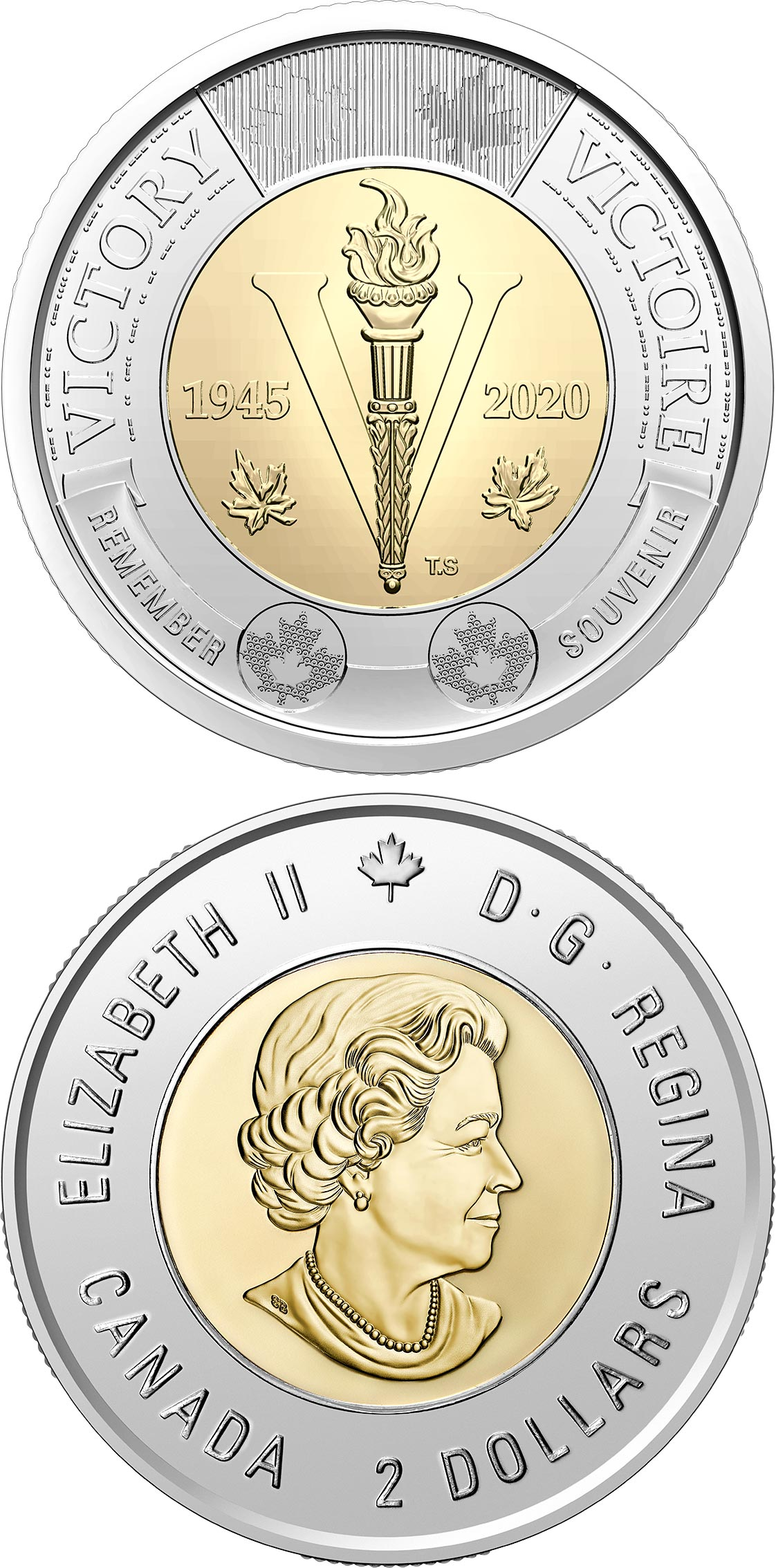 Image of 2 dollars coin - 75th Anniversary of the End of the Second World War | Canada 2020.  The Bimetal: CuNi, nordic gold coin is of UNC quality.