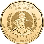 1 dollar coin 75th Anniversary of the Signing Of The United Nations Charter | Canada 2020