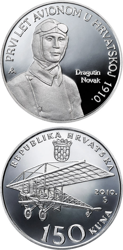 Image of 150 kuna coin - 100th Anniversary of Aviation in Croatia | Croatia 2010.  The Silver coin is of Proof quality.