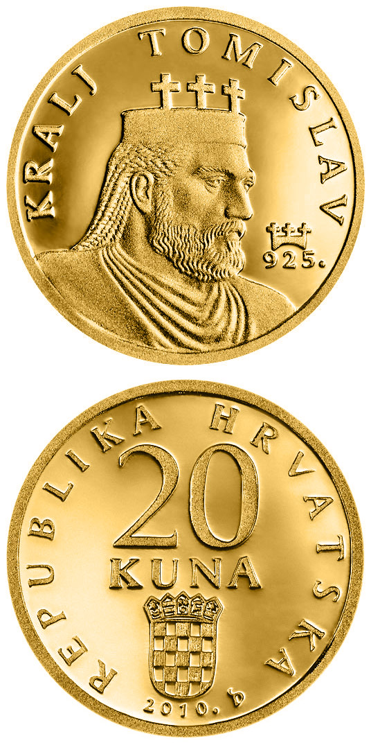 Image of King Tomislav  – 20 kuna coin Croatia 2010.  The Gold coin is of Proof quality.