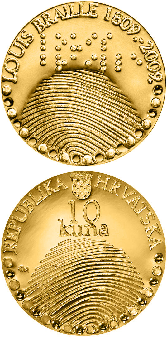 Image of 10 kuna coin – 200th birth anniversary of Louis Braille  | Croatia 2010.  The Gold coin is of Proof quality.