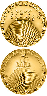 10 kuna coin 200th birth anniversary of Louis Braille  | Croatia 2010