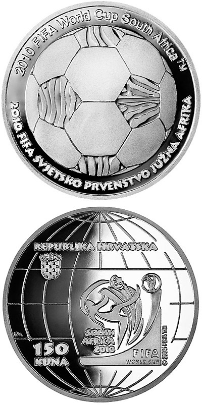 Image of 2010 World Cup in South Africa  – 150 kuna coin Croatia 2010.  The Silver coin is of Proof quality.