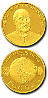 Image of 1000 kuna coin - 150th birth anniversary of Andrija Mohorovičić  | Croatia 2008.  The Gold coin is of Proof quality.