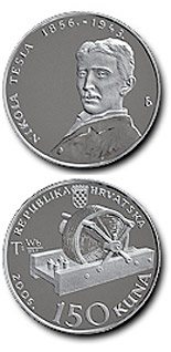 150 kuna coin 150th birth anniversary of Nikola Tesla  | Croatia 2006