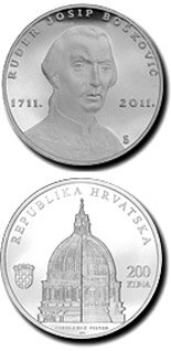 Image of 200 kuna coin - 300th Anniversary of the Birth of Ruđer Josip Bošković | Croatia 2011.  The Silver coin is of Proof quality.