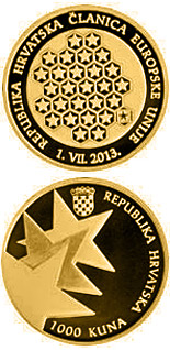 1000 kuna coin Republic of Croatia – A Member of the European Union | Croatia 2013