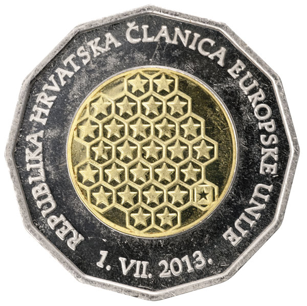 Image of 25 kuna coin - Republic of Croatia – A Member of the European Union | Croatia 2013.  The Copper–Nickel (CuNi) coin is of BU quality.