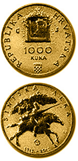 Image of 1000 kuna coin - 300th anniversary of the Alka Tournament of Sinj (Sinjska alka) | Croatia 2015.  The Gold coin is of Proof quality.