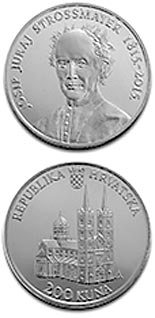 Image of 200 kuna coin - 200th Anniversary of the Birth Of Josip Juraj Strossmayer | Croatia 2015.  The Silver coin is of Proof quality.