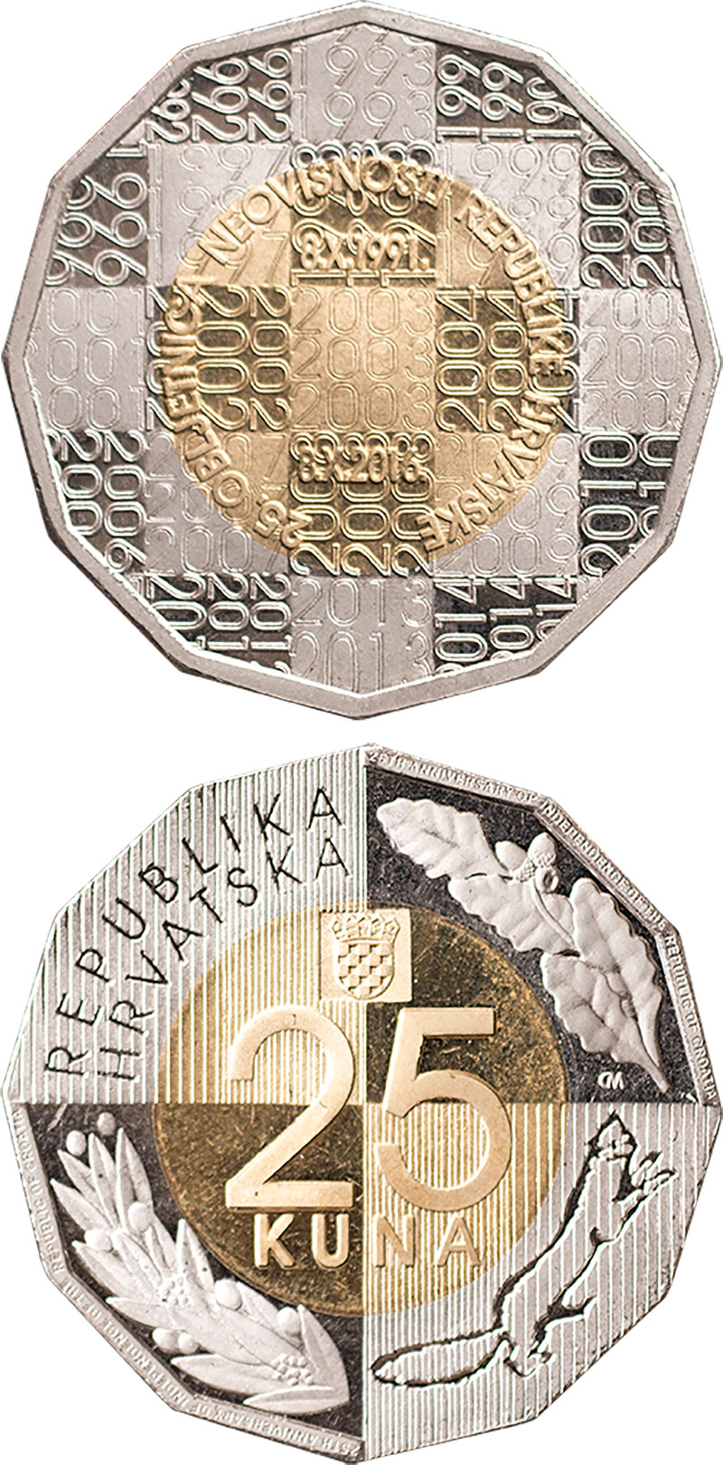 25 kuna | Croatia | 25th Anniversary of Independence of the Republic of Croatia | 2016