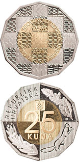 25 kuna coin 25th Anniversary of Independence of the Republic of Croatia | Croatia 2016