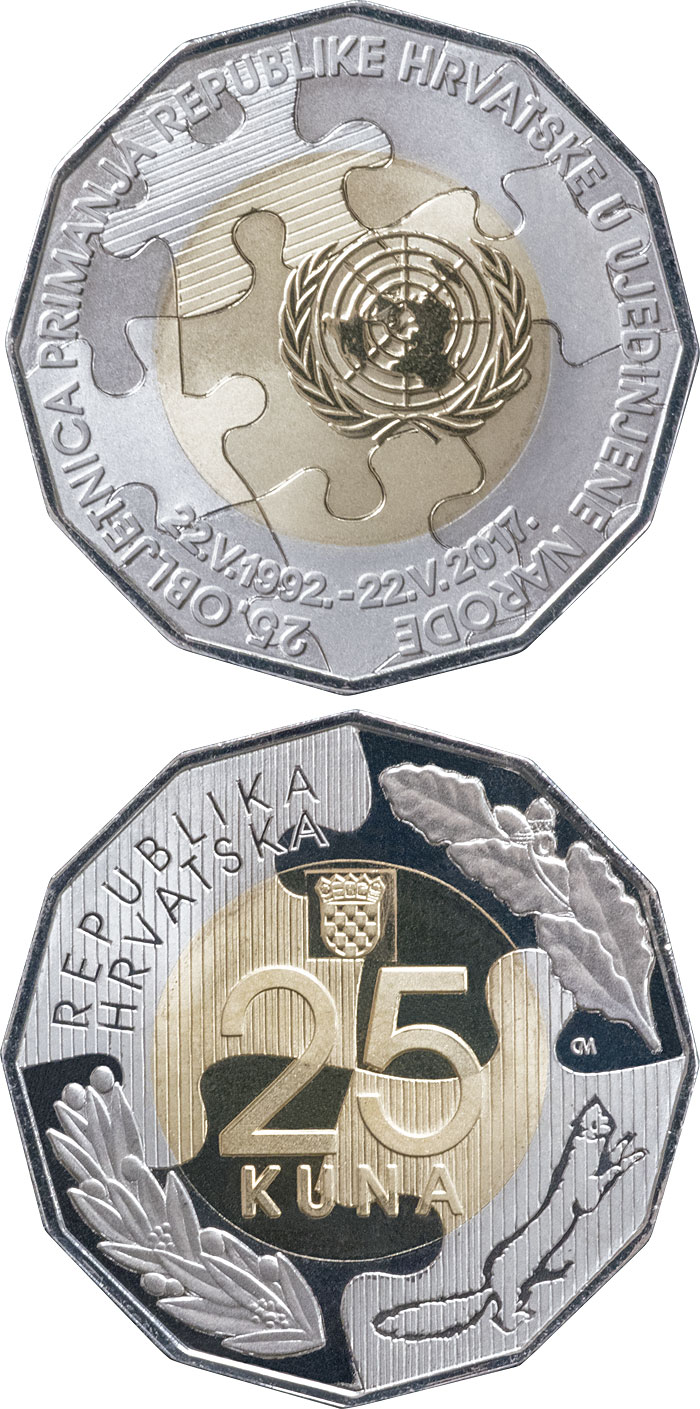 Image of 25 kuna coin – 25th Anniversary of the Admission of the Republic of Croatia to Membership in the United Nations | Croatia 2017