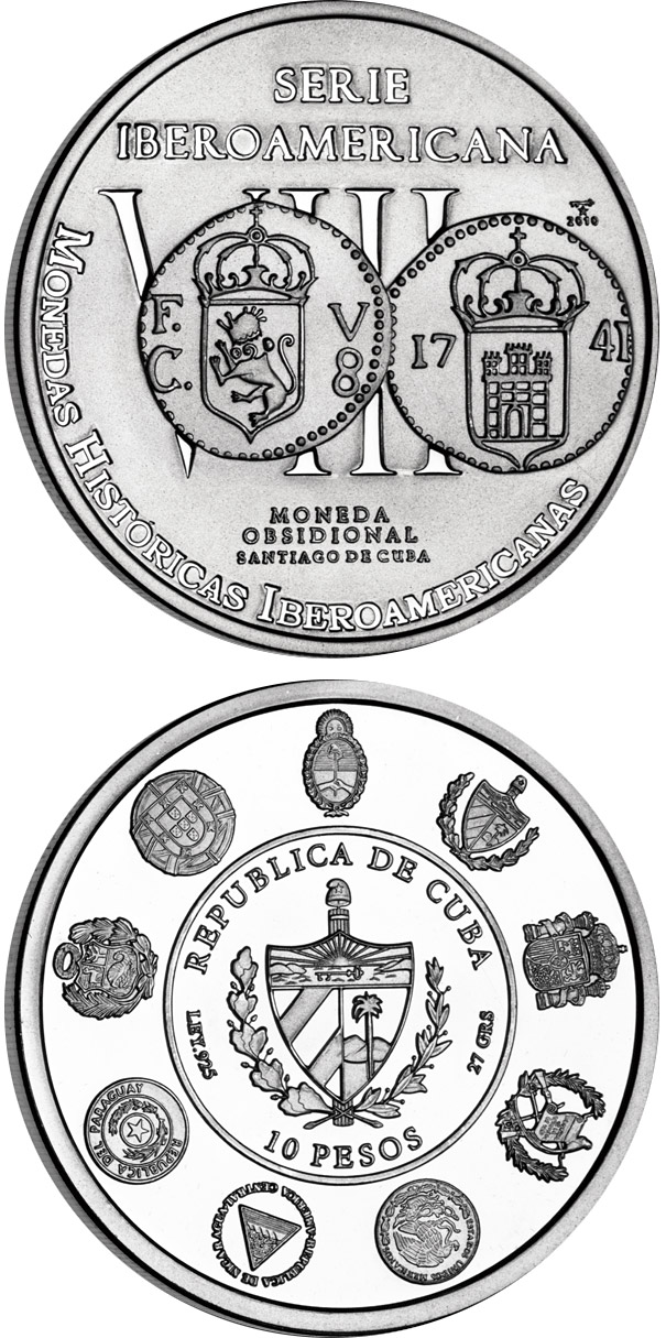 Image of 10 pesos coin - Historic Ibero-American Coins | Cuba 2010.  The Silver coin is of Proof quality.