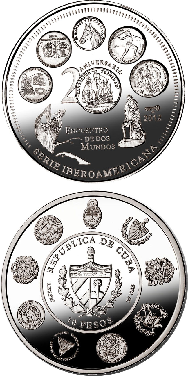 Image of 10 pesos coin - 20th Anniversary of the Ibero-American Series | Cuba 2012.  The Silver coin is of Proof quality.