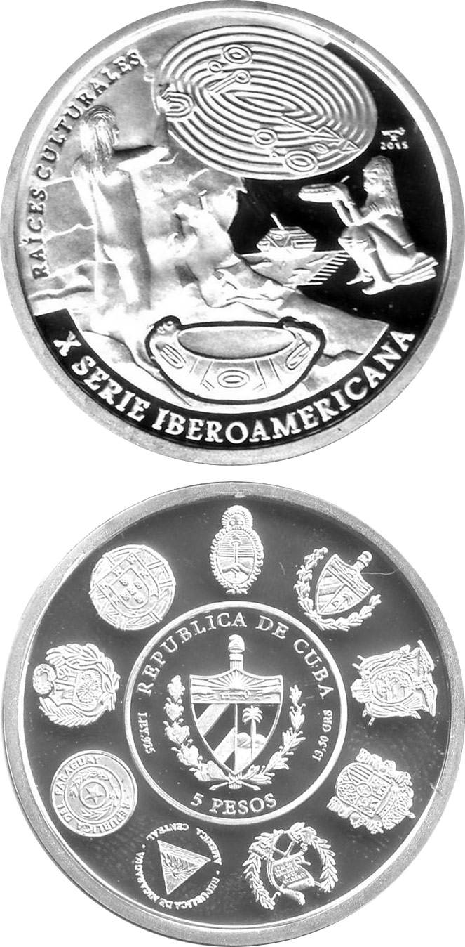 Image of 10 pesos coin - Cultural Roots - Cave Paintings and the Pottery | Cuba 2015.  The Silver coin is of Proof quality.