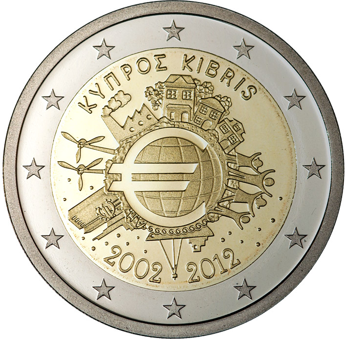 Image of Ten years of Euro  – 2 euro coin Cyprus 2012