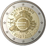 2 euro coin Ten years of Euro  | Cyprus 2012