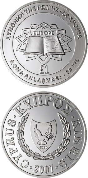 Image of 1 pound coin - Treaty of Rome | Cyprus 2007.  The Silver coin is of Proof quality.