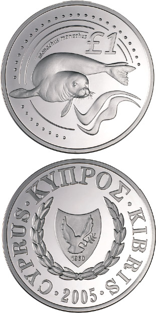 Image of 1 pound coin - Cyprus wildlife: seal - monachus monachus | Cyprus 2005.  The Silver coin is of Proof quality.
