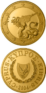 Image of 20 pounds coin - Triton, Cyprus's accession to the EU | Cyprus 2004.  The Gold coin is of Proof quality.