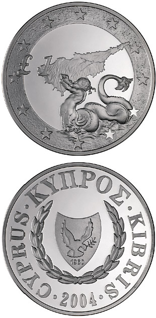 Image of 1 pound coin - Triton, Cyprus's accession to the EU | Cyprus 2004.  The Silver coin is of Proof quality.