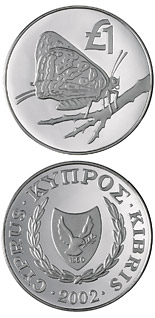 1 pound Cyprus wildlife: Cyprus butterfly (apharitis acamas cypriaca) - 2002 - Series: Cypriot commemorative pound coins - Cyprus