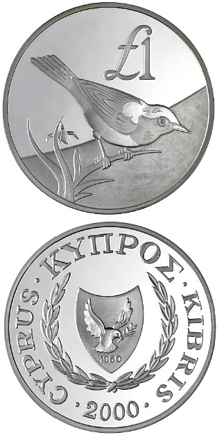 Image of 1 pound coin - Cyprus wildlife: Cyprus bird – skalifourta (oenanthe cypriaca) | Cyprus 2000.  The Silver coin is of Proof quality.