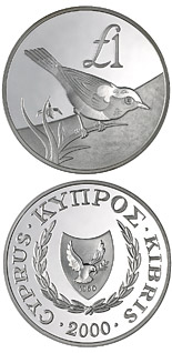 1 pound Cyprus wildlife: Cyprus bird – skalifourta (oenanthe cypriaca) - 2000 - Series: Cypriot commemorative pound coins - Cyprus