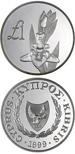 1 pound Cyprus wildlife: Cyprus orchid – melissaki (orphys kotschyi) - 1999 - Series: Cypriot commemorative pound coins - Cyprus