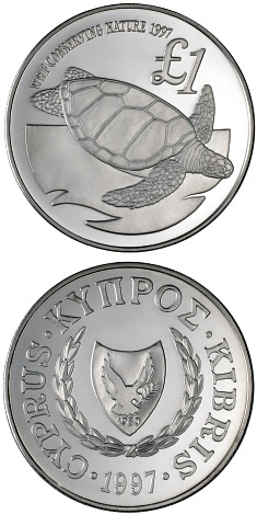 Image of 1 pound coin - Cyprus wildlife: green turtle | Cyprus 1997.  The Silver coin is of Proof quality.