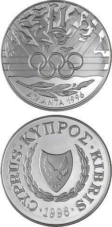 Image of 1 pound coin - Atlanta Olympic Games | Cyprus 1996.  The Silver coin is of Proof quality.