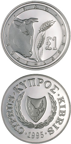 Image of a coin 1 pound | Cyprus | 50th Anniversary of FAO | 1995