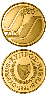 Image of 20 pounds coin – Special Government Fund against AIDS | Cyprus 1994.  The Gold coin is of Proof quality.