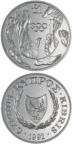 1 pound Barcelona Olympic Games - 1992 - Series: Cypriot commemorative pound coins - Cyprus