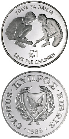 Image of a coin 1 pound | Cyprus | 70th Anniversary of the Save the Children Fund | 1989